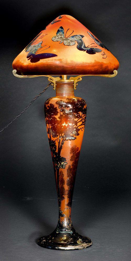 Emile Galle Tischlampe Um 1900 Oranges Glas Violett überfan