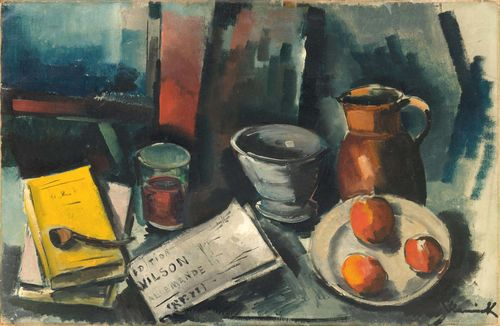 VLAMINCK, MAURICE DE (Paris 1876 - 1958 Rueil-la-Gadelière) Stillleben. Oil on canvas. Signed lower right: Vlaminck. 56 x 80 cm. The authenticity of the work was confirmed by the Wildenstein Institute, Comité Maurice de Vlaminck, Paris, May 2015. Provenance: Private collection, Switzerland, for over 70 years in a family estate.