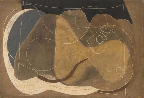 NICHOLSON, BEN (Denham 1894 - 1982 London) Komposition. 1933. Oil on canvas. Signed and dated on the reverse: Ben Nicholson /1933. 38 x 55.9 cm. Provenance: - Crane Kalman Gallery, New York 1969 (label verso). - Sir Martyn Beckett. - Dr. Dallas Bratt. - Germann Zürich: Auction, 14 November 1995, Lot 207. - Private collection, Switzerland, acquired at the auction above, through inheritance with the present owner.