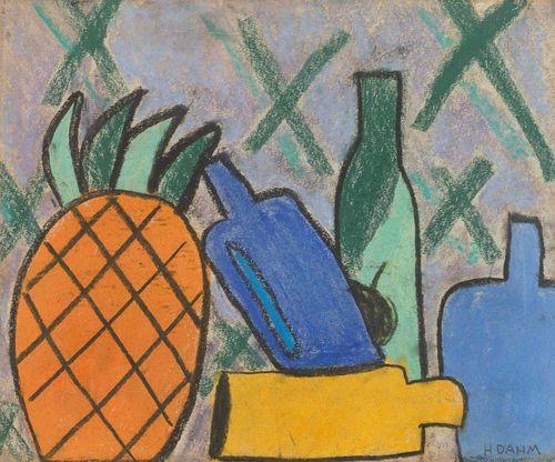 DAHM, HELEN (Egelshofen 1878 - 1968 Männedorf) Still life with pineapple and vases. Chalk on sketch pad paper. Signed lower right : H. Dahm. 35.5 x 43 cm.