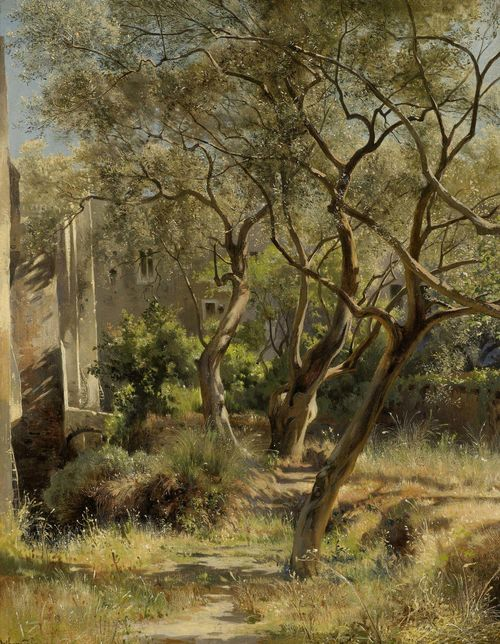CALAME, JEAN BAPTISTE ARTHUR (1843 Geneva 1919) Olive trees. Oil on canvas laid on board. Signed lower left: Arthur Calame. 41 x 33 cm.