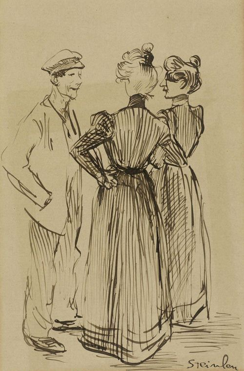 STEINLEN, THÉOPHILE ALEXANDRE (Lausanne 1859 - 1923 Paris) Three people conversing. India ink on paper. Signed lower right: Steinlen. 16.5 x 11 cm.