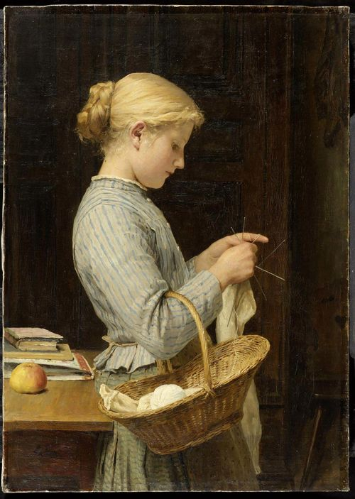 ANKER, ALBERT (1831 Ins 1910) Girl knitting. 1888. Oil on canvas. Signed lower left: Anker. 63 x 45.5 cm. Provenance: Private collection Switzerland , acquired directly from the artist by the current owner's ancestors Exhibited: - Bern 1928. Kunsthalle Bern, Albert Anker, September to October 1928, No.71. - Bern 1931. Berner Kunstmuseum, Albert Anker, 17. September to 11. December 1960, No. 127. - Ins 1977. Gemeindehaus Ins, Der Maler und sein Dorf, 14. - 31. May 1977, No. 38. - Bern, von 2005 - 2009 on loan to the Bern Kunstmuseum.