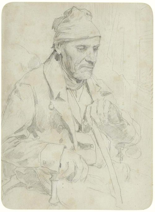 ANKER, ALBERT (1831 Ins 1910) Portrait of a seated man with cap, holding a stick in his left hand. Pencil on paper. 28 x 20 cm. This drawing is registered at the Swiss Art Institute as by the hand of Albert Anker.