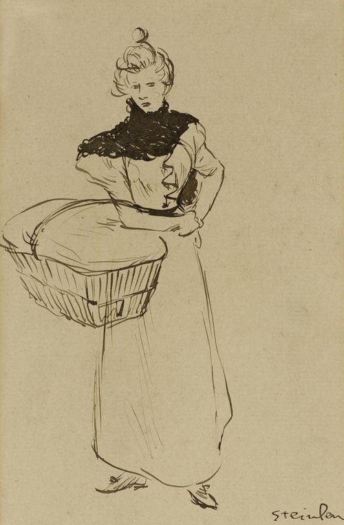 STEINLEN, THÉOPHILE ALEXANDRE (Lausanne 1859 - 1923 Paris) Woman with basket. India ink in black on paper. Signed lower right: Steinlen. 16 x 11 cm.