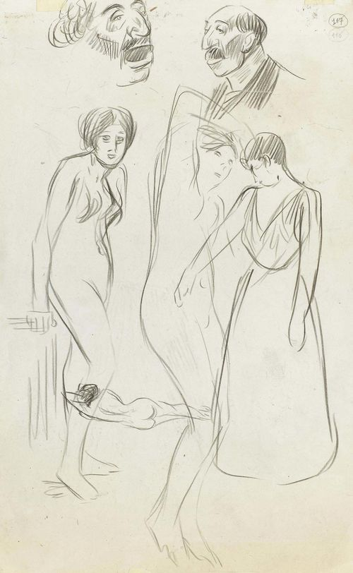 STEINLEN, THÉOPHILE ALEXANDRE (Lausanne 1859 - 1923 Paris) Male and female figure studies. Pencil on paper. Verso a further sketch. 31 x 23 cm. Expertise: Alain Weill, Paris 23. October 2005