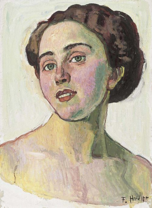 HODLER, FERDINAND (Bern 1853 - 1918 Geneva) Portrait of a woman. Circa 1914. Oil on canvas. Signed lower right: F. Hodler. 40.2 x 29.8 cm. The painting is registered at the Swiss Art Institute as by the hand of Ferdinand Hodler. Provenance: - Kunstsalon Wolfsberg, Zurich, 1915. - Galerie Ernst Arnold, Dresden, 1923. - Private collection Germany since 1950. Literature: - Loosli, C. A. : Ferdinand Hodler, Leben, Werk und Nachlass, Bern, 1924, vol 4, p. 59, No. 159.