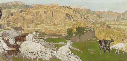 DALLEVES, RAPHY (1878 Sitten 1940) Herdsman resting on a mountain meadow with view over Sion. 1910. Tempera on canvas. Signed and dated lower right: Raphy Dalleves. 1910. 46 x 98 cm. In original frame Provenance: In the same Swiss private collection for two generations.