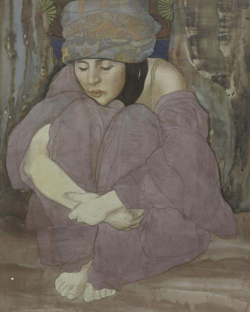 OLSOMMER, CHARLES CLOS (Neuchâtel 1883 - 1966 Sierre) Seated girl. Pastel and watercolour on paper. Signed lower right: Charles Clos Olsommer. 54 x 43 cm.