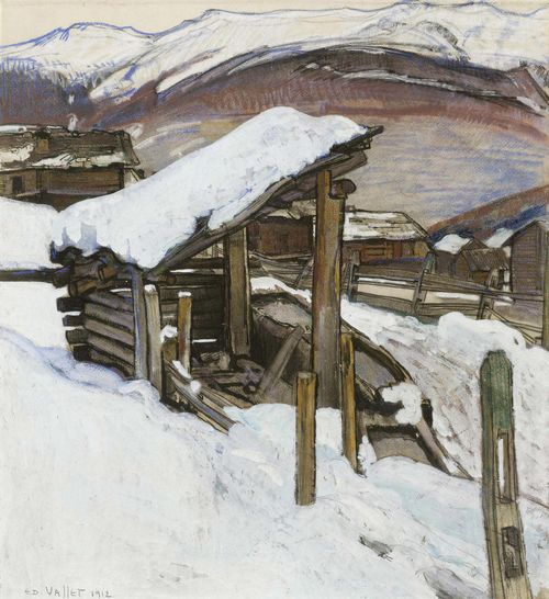 VALLET, EDOUARD (Geneva 1876 - 1929 Cressy) Village landscape in winter in the Valais. 1912. Pastel, watercolour and pencil on paper. Signed and dated lower left: ED. VALLET. 1912. 51 x 46 cm. Provenance: Swiss private collection.