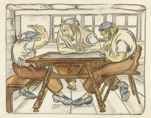 OESCH, ALBERT SEBASTIAN (St. Gallen 1893 - 1920 Appenzell) Alpine herdsmen playing cards. 1918. Chalk and watercolour on paper. Monogrammed and dated in the centre of the table: 1918. 27 x 30 cm.