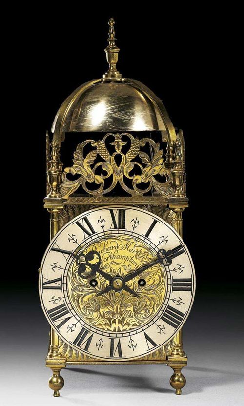 LATERN CLOCK, late Baroque, the dial signed RICHARD MARTIN NORTHHAMPTON (active 19th century in England), England, 19th century Gilt bronze and brass. With silver-plated bronze chapter ring, fine brass movement with 4/4 striking on 2 bells. 18x15x32 cm. Provenance: Swiss private collection