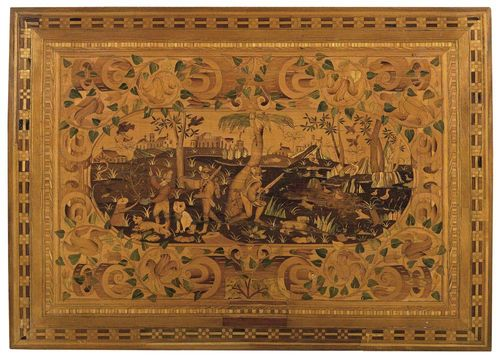 PANEL, Baroque, German, 18th century Walnut, cherry and local fruitwoods, partly dyed, very finely inlaid with oval cartouche with depiction of idealised wooded landscape framed by flowers and frieze, terminating with fine fillets. H 44 cm, W 59 cm. Provenance: Castle collection, South Germany.