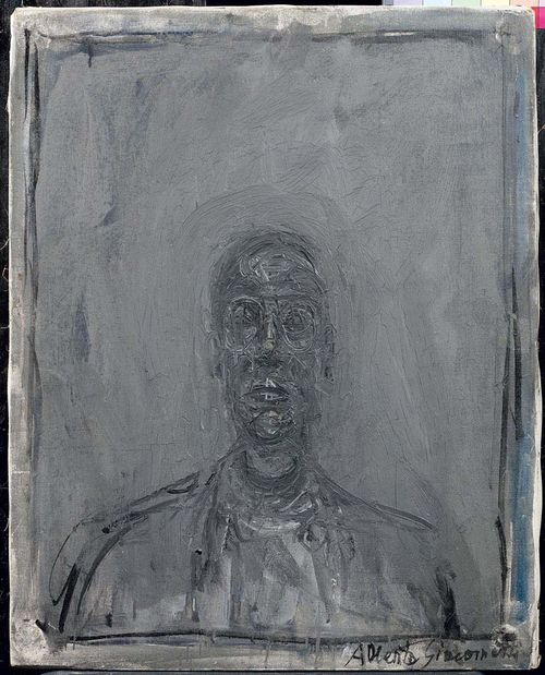 GIACOMETTI, ALBERTO (Stampa 1901 - 1966 Chur) Portrait de Pierre Josse. 1961. Oil on canvas. Signed lower right: Alberto Giacometti. 55 x 46 cm. Provenance: - Pierre Matisse Gallery, New York - Janss Collection, Los Angeles - Thomas Ammann Fine Art, Zurich - Private collection, Switzerland. Exhibited: - Zürich, Thomas Ammann Fine Art, Faces and Figures, June-September 1989, No. 20 ( colour illustration) - Madrid, Museo Nacional Centro de Arte Reina Sofia, Alberto Giacometti, Dibujo, Esculutura, Pintura, 1990, No. 284, p. 608/609 (with colour ill) - Andros, Griechenland, Musée d'art moderne, Fondation Basil et Elise Goulandris, Alberto Giacometti, Juni-September 1992, No. 98, p. 153 (with colour ill) - Vienna, Kunsthalle, Alberto Giacometti 1901-1966, Februar-Mai 1996, No. 232, p. 332 (with colour ill and in black and white on p.59) / Edinburgh, Scottish National Gallery of Modern Art, Juni-September 1996 / London, Royal Academy of Arts, October 1996- Jan 1997.