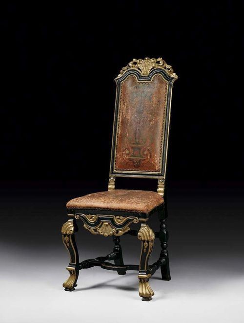 CHAIR. Louis XIV/XV, Sweden, beginning of the 18th century. Pierced and carved wood painted in black and gold, with fine worn leather covers with Moorish motif. 48x38x48x124 cm. Provenance: from a German collection.