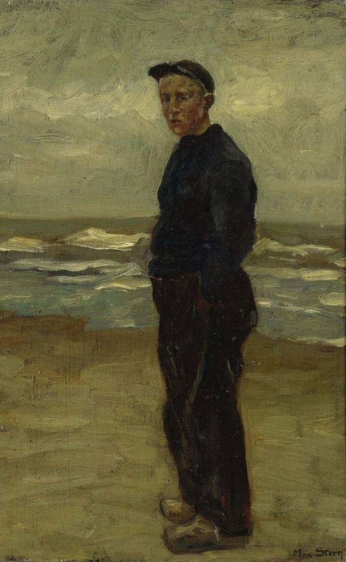 STERN, MAX (1872 Düsseldorf 1943) Young man on the beach. Oil on canvas laid on hardboard. Signed lower right: Max Stern. 38 x 25.5 cm.