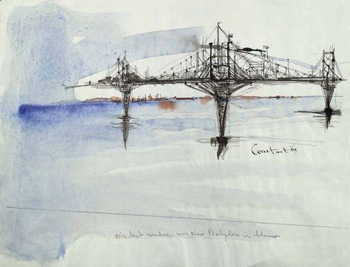 CONSTANT (Amsterdam 1920 - 2005 Utrecht) Bridge 1969. Watercolour over pen on wove paper. Signed and dated centre right: Constant 69. Entitled centre bottom: Ook het water van New Babylon is blauw. 48.5 x 63 cm.