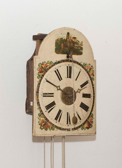 WALL CLOCK WITH FRONT PENDULUM AND ALARM,