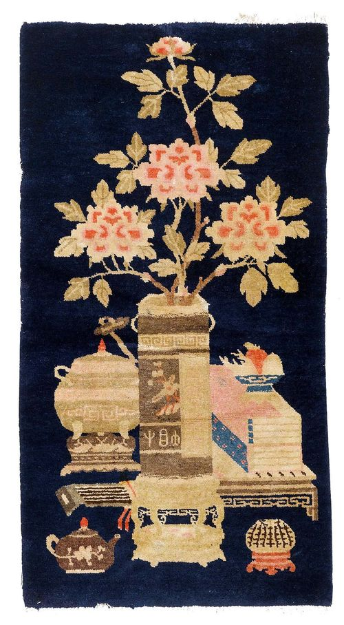 CHINA old.Dark blue background patterned with a board and vases in attractive pastel colours, 90x160 cm.
