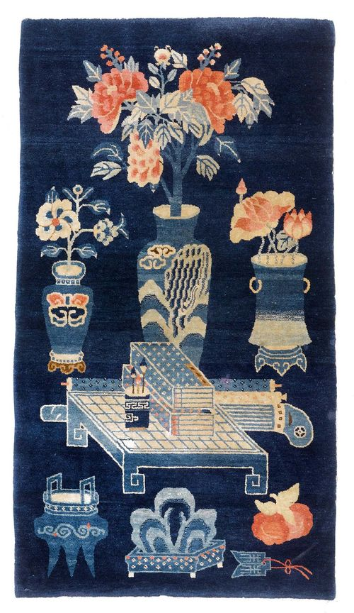 CHINA antique.Dark blue background patterned with a table and vases, 70x125 cm.