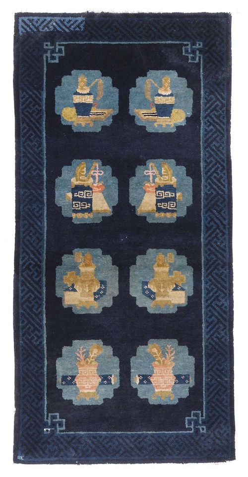 CHINA antique.Dark blue central field with eight medallions, patterned with vases, restored, 70x140 cm.