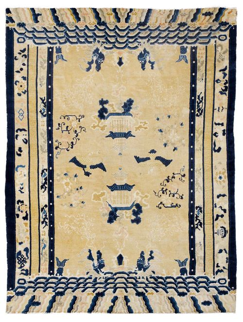 CHINA antique.Beige central field patterned with plants and animals in shades of blue, wide border with trailing flowers, signs of wear, 240x290 cm.
