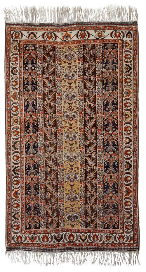 GASHGHAI antique.Vertically striped central field, patterned with colourful plant motifs, white edging with trailing flowers, 150x250 cm.