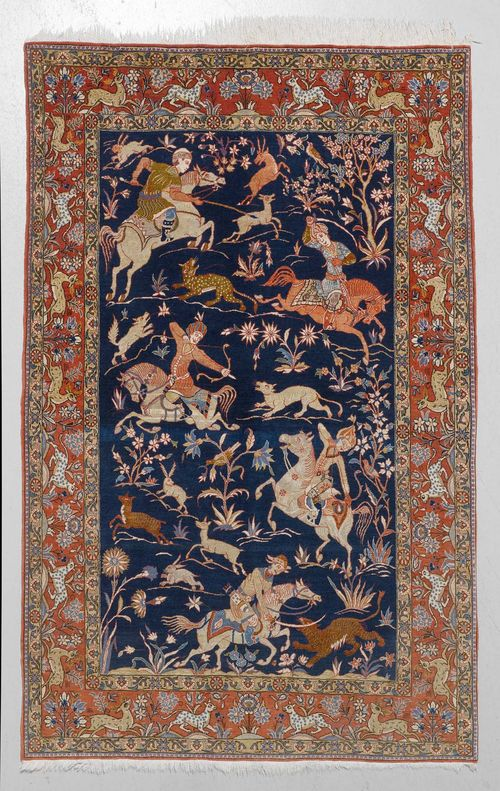 GHOM old.Blue central field with a hunting scene, red edging, 140x210 cm.