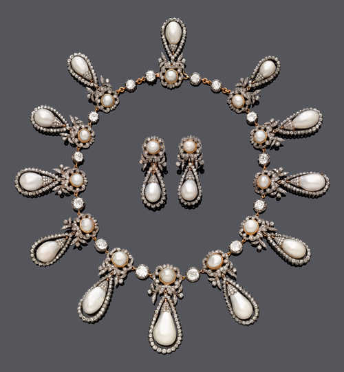 EXTRAORDINARY NATURAL PEARL AND DIAMOND NECKLACE/TIARA WITH EAR PENDANTS, BY CATCHPOLE & WILLIAMS, ca. 1890.