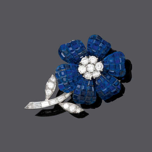 SAPPHIRE AND DIAMOND FLOWER BROOCH, BY VAN CLEEF & ARPELS, 1964.