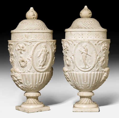 "PAIR OF IMPORTANT LIDDED VASES ""A L'ANTIQUE"","