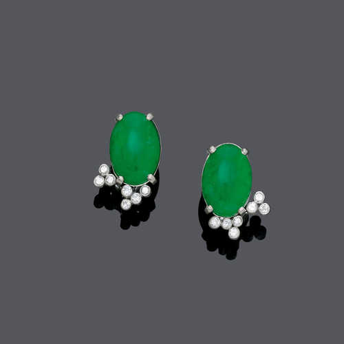 JADEITE AND DIAMOND EARCLIPS.
