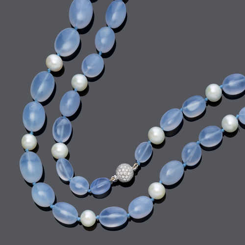 CHALCEDONY, PEARL AND DIAMOND SAUTOIR.