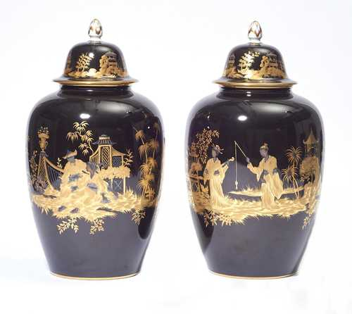 PAIR OF LARGE LIDDED PORCELAIN VASES WITH GOLD DECORATION IN THE SÈVRES STYLE,