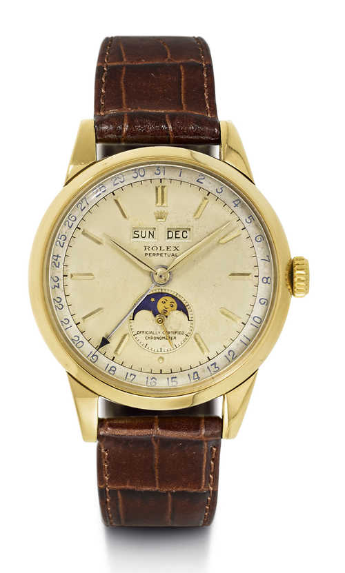 Very rare Rolex Automatic Watch with Calendar and Moon Phase, ca. 1950.