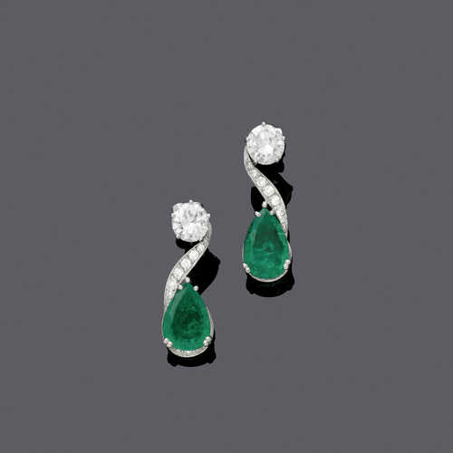 EMERALD AND DIAMOND EAR PENDANTS, BY R.G. KERN, ca. 1967.