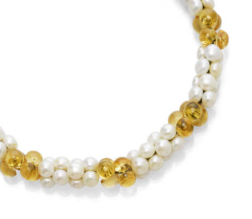 PEARL AND CITRINE NECKLACE, by MARINA B.
