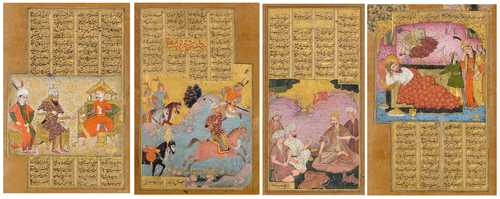 FOUR ILLUSTRATIONS AND FOLIOS FROM A DISPERSED SHAHNAMA.