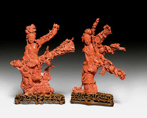 TWO INTRICATE CORAL CARVINGS.