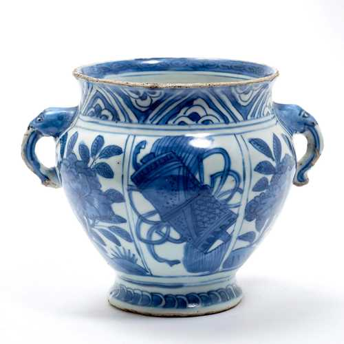 BLUE-AND-WHITE HANDLED VASE.