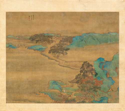 A BLUE AND GREEN LANDSCAPE PAINTING ATTRIBUTED TO YUAN YAO (c. 1720-1780).