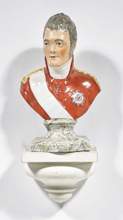 STONEWARE BUST OF TSAR ALEXANDER I OF RUSSIA.