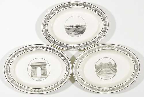 3 OVAL STONEWARE DISHES WITH VIEWS OF A TOWN