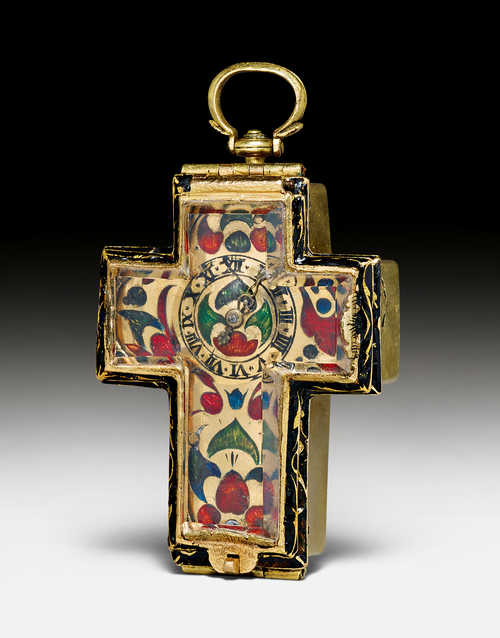 A RARE CROSS-SHAPED NECK WATCH WITH ROCK CRYSTAL,