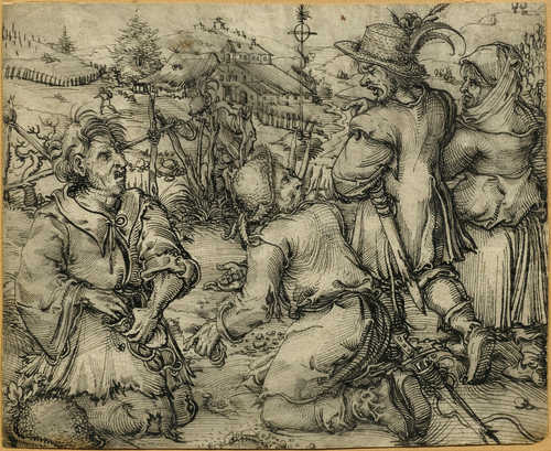 4122000ed Cover: Attributed to Hans Weiditz the Younger. Diceplaying vagabonds and  peasant couple, circa 1525–30. Pen and ink in black, partially with wash,  ...