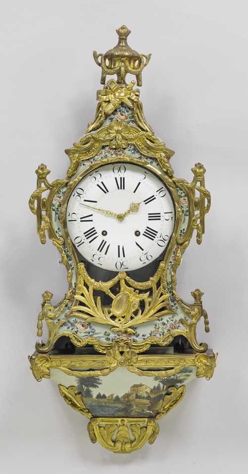 PAINTED CLOCK ON BASE, with later music box,