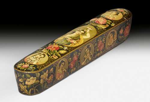A PEN BOX DECORATED WITH FLOWERS AND EUROPEAN BEAUTIES (QALAMDAN).