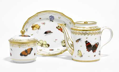 TEA SERVICE PAINTED WITH INSECTS
