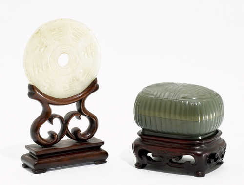 TWO JADES CARVED AS A BI DISC AND A COVERED BOX.