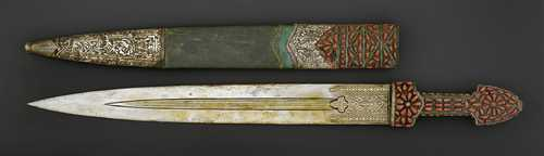 AN OTTOMAN CORAL-INSET AND GOLD-DAMASCENED DAGGER (KINDJAL).